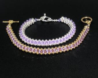 Swarovski Crystal Bracelet, Swarovski Bracelet, crystal bracelet, silver bracelet, beaded bracelet, gold bracelet, purple bracelet