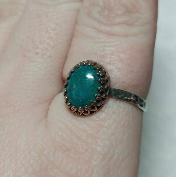Ocean Blue Stone Ring   Antique Brass Ring   Chrysocolla Ring   Sterling Silver Ring Sz 11   Blue Green Gemstone Ring   Mixed Metal Ring