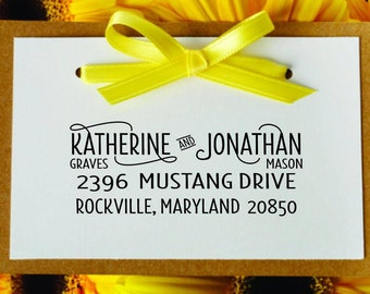 Personalized Custom Wood Handle or Self-Inking Rubber Stamp with Decorative Tails-