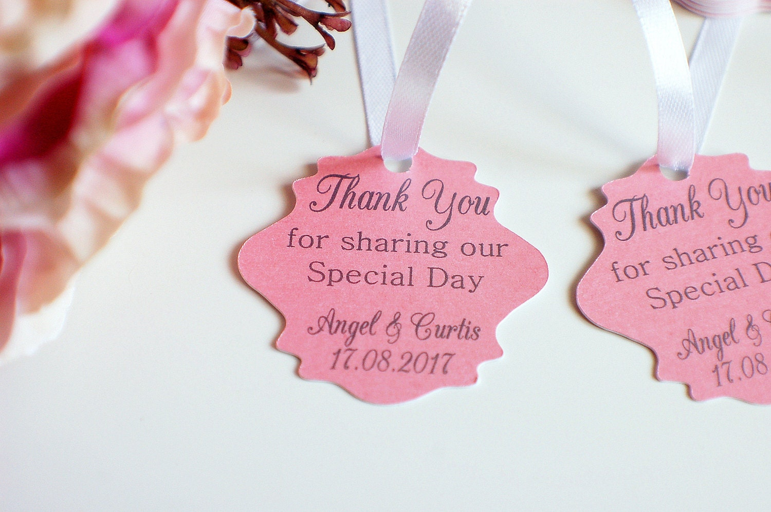 Wedding thank you tags pearlised wedding tags thank you for