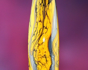 Denim Glow Set of Three Handmade Lampworked Glass Beads OOAK Yellow Denim Blue Black Barrel Rondelles Lampwork