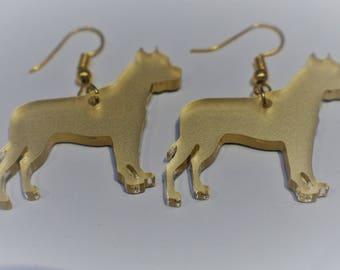 Golden Pit Bull Acrylic Earrings