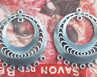 TWO Decorated brass gypsy hoops with 7 bottom holes, Boho earring pendants, Sterling Silver Ox