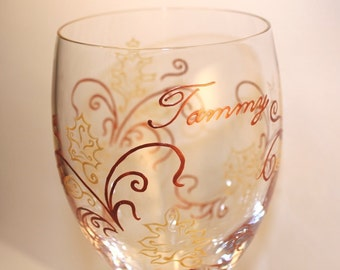 Autumn Fall Leaves Wine Glass, Personalized, Custom, Painted, Thanksgiving, September, October, November, Rustic, Woodland, Copper, Gold