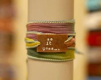So it goes... silk wrap bracelet/ Kurt Vonnegut Bracelet/ Slaughterhouse 5/ Slaughterhouse Five/ Graduation Gift / BOHO Bracelet