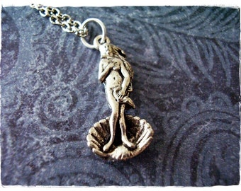 Silver Goddess Venus Necklace - Antique Pewter Goddess Venus Charm on a Delicate Silver Plated Cable Chain or Charm Only