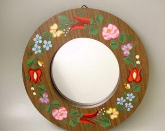 Vintage Hungarian  mirror, wood wall mirror ,Mid -century Modern,Kalocsa flowers