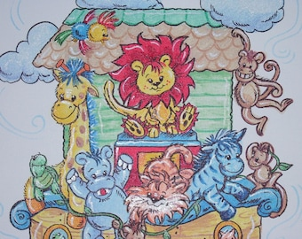 Childrens Art Baby Animals on Noah's Ark Hand Painted and Personalized 16 x 20