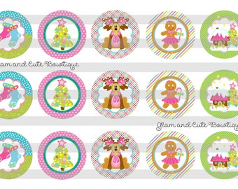 """Pink Christmas Cute Reindeer  INSTANT DOWNLOAD Bottle Cap Images 4x6 sheet 1"""" circles"""