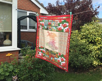 Welsh Wales Large Quilted Patchwork Table Topper Mini Quilt