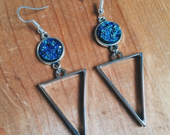 Druzy Triangle Drop Earrings