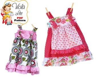 Ruffle Apron Knot Dress Pattern. Girls Dresses. Toddler Dress Pattern. Toddler Sewing Pattern. pdf Sewing Pattern. Childrens Tutorial Cheryl