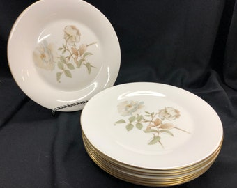 """Royal Doulton Yorkshire Rose 10.5"""" Dinner Plate with Gold Edge Set of 8! Rare"""