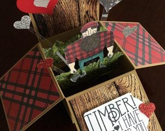 Valentine's card, lumberjack card, Card in a box, pop up card, greeting card