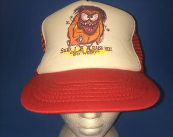 Vintage Sure i Raise Hell so What! Trucker Snapback Hat Adjustable 1980s