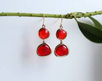 Garnet Earrings - Gold Dangle Earrings - Stone Earrings - Drop Earrings - Red Birthstone Earrings - Red Jewellery - Red Garnet Jewellery