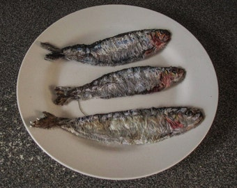 Trio of Sardines textile artwork