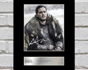 Kit Harington - Jon Snow 10x8 Mounted Signed Photo Print Game of Thrones
