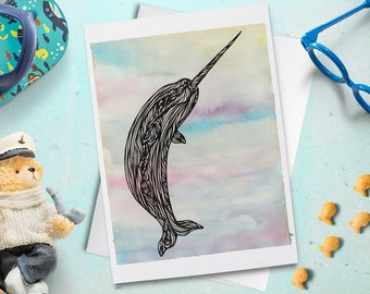 Narwhal Greeting Card, Ocean Birthday, Bday, Kids, Thank You, Cute Animal, Kawaii, Gift, Everyday Note, Blank Inside with Envelope