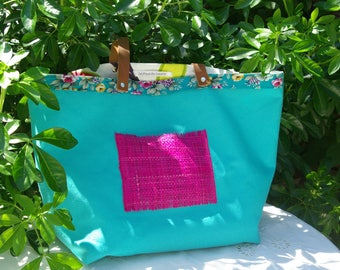 """Tote bag """"Sausalito"""" in canvas blue turquoise"""