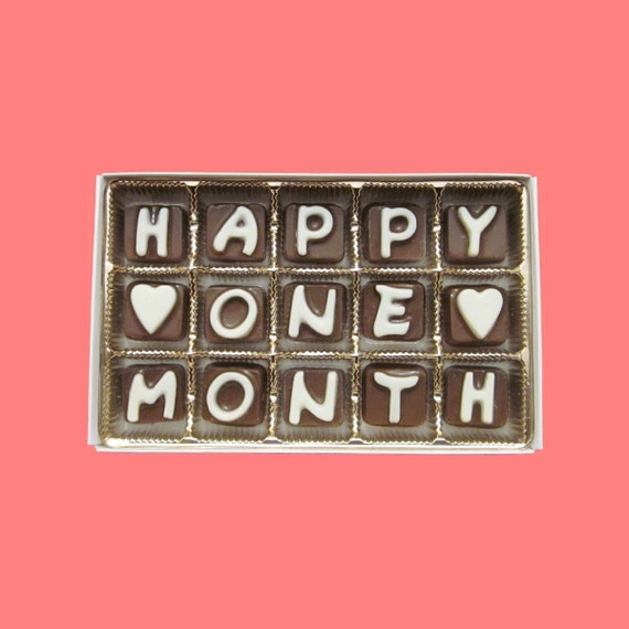 First Month Anniversary Gift Happy One 1 Month Cubic Chocolate