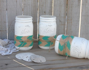 Beach Mason Jars, Shabby Chic, White, Turquoise, Blue, Chevron, Burlap, Rustic, Hand Painted, Wedding, Beach Decor, Painted Mason Jar