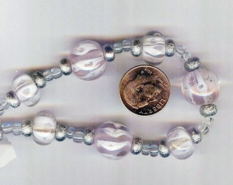 Precious Baby Pink with White Swirls Lampwork Glass Round Beads 2sizes 12mm & 14mm 7pcs