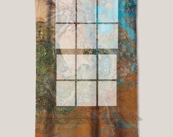 "Sheer Curtain with Abstract Art in orange, turquoise and copper, 50""x84"" sheer drapery panel, contemporary rod pocket curtain, Canyon Sunset"