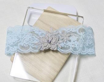 Light blue lace garter, silver flower garter, wedding garter, lace garter, bridal garter, silver lace garter