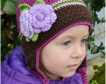 Handmade Crochet hat for girls, Toddler hat, Flower hat