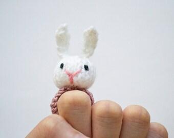 White Rabbit knitted amigurumi ring
