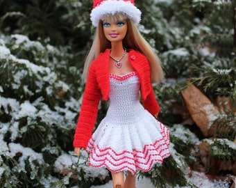 PDF Doll Pattern Crochet Miss Santa Outfit for Barbie dolls By Kasatka fashion