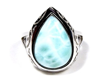 High Quality Genuine AAA Dominican Larimar Inlay 925 Sterling Silver Ring size 8