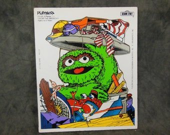 Playskool Oscar The Grouch, Jigsaw Puzzle - Sesame Street - 1984