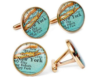 New York Atlas  Cufflinks  Bronze Antique Map Vintage Globe Cuff Links Gift for Him Traveler Adventure