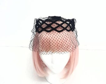 Vintage 60s Black birdcage veil crown,Gorgeous Vintage headpiece