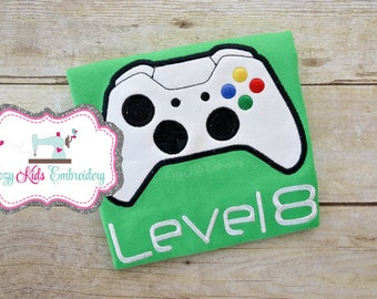 Video Game birthday shirt, gamer shirt, Video Game controller shirt, video game birthday party, embroidery applique