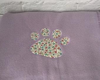 Paw Print Pet Blanket, Applique Dog Blanket, Applique Cat Blanket, Lilac Fleece Pet Blanket, Puppy Blanket