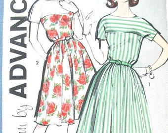 Spring Sale Uncut Early 60s Advance 9811 One-Piece Dress Pattern Vintage Sewing Pattern  Bust 32