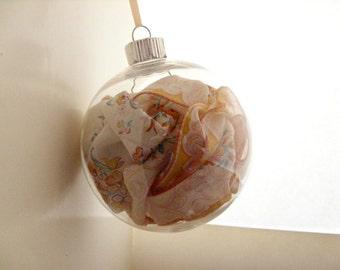 Orange Christmas Ornament - Orange floral hankie ornament, vintage floral handkerchief, keepsake ornament, holiday decor, Christmas ball