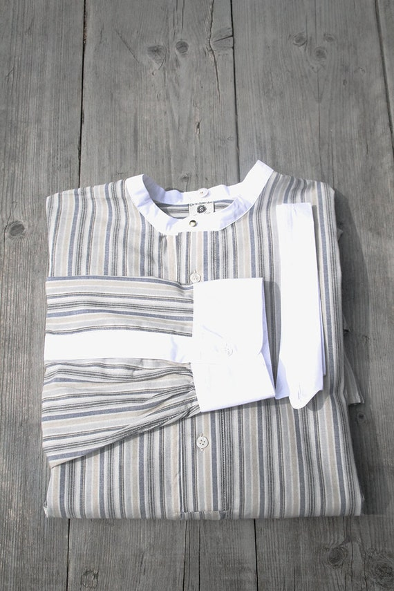 1920s Style Men's Shirts | Peaky Blinders Shirts and Collars mens Edwardian shirt vintage style striped shirt for detachable collars peaky blinders shirt grey blue striped mens shirt 1930 1920 $141.10 AT vintagedancer.com