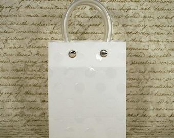 Embossed Handle Plastic Mini Tote Bag - White , Party Favor Bag , Set of 12