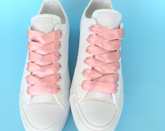 Wedding Converse low top, Converse for bride, Pink Converse shoes for bride, Bridal Converse for women, Customised Converse, Lace Converse