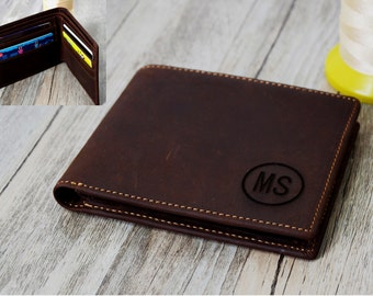 Christmas gift Wallet,Personalized  Leather Wallet Custom Engrave Wallet, ,Men's Leather Wallet Men's gift  Father's Day Wallet