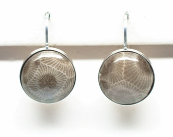 Petoskey Stone Sterling Silver 12 mm Round Earrings