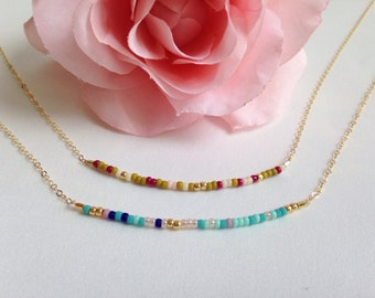 Extra thin bead necklace, tiny beads, colorful short necklace, simple modern necklace, layering necklace, boho chic Gift for her