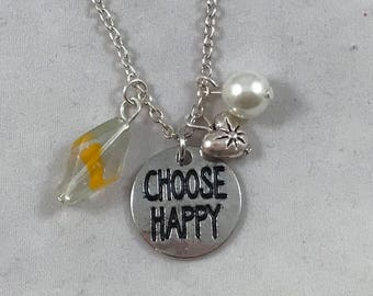 Choose Happy Necklace, Choose Happy Charm Necklace, Happy Charm Necklace, Charm Necklace