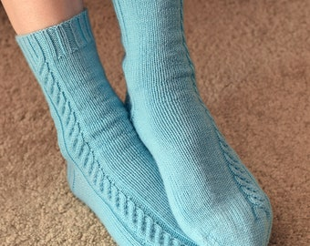 Cable Knit Socks Pattern - SUNDAY MORNING Socks Knitting Pattern PDF - Digital Download
