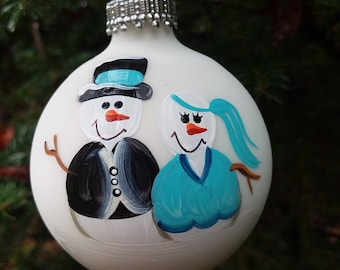 Wedding Just Married Personalized Snowman Christmas Ornament Handpainted Gift
