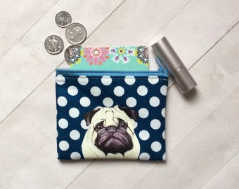 Pug Coin Purse, Coin Pouch, Pug Gift, Dog Lover Gift, Dog Birthday Gift, Dog Gift, Gift For Her, Cotton Pouch, Dog Small Gift